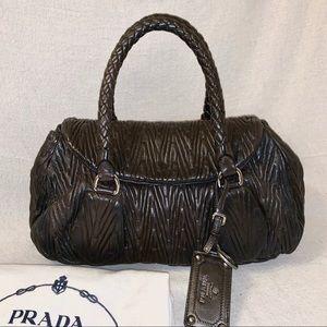PRADA Nappa Gaufre Ruched Leather Satchel